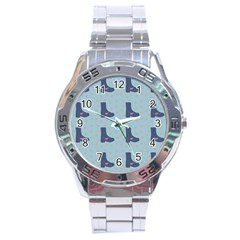 Deer Boots Teal Blue Stainless Steel Analogue Watch by snowwhitegirl