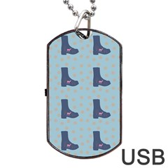 Deer Boots Teal Blue Dog Tag Usb Flash (two Sides) by snowwhitegirl