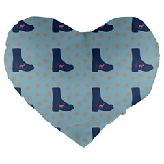 Deer Boots Teal Blue Large 19  Premium Heart Shape Cushions by snowwhitegirl