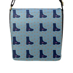 Deer Boots Teal Blue Flap Messenger Bag (l)  by snowwhitegirl
