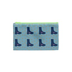Deer Boots Teal Blue Cosmetic Bag (xs) by snowwhitegirl