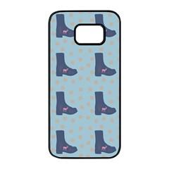 Deer Boots Teal Blue Samsung Galaxy S7 Edge Black Seamless Case by snowwhitegirl