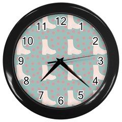 Deer Boots Blue White Wall Clocks (black) by snowwhitegirl