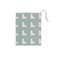 Deer Boots Blue White Drawstring Pouches (small)  by snowwhitegirl