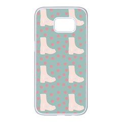 Deer Boots Blue White Samsung Galaxy S7 Edge White Seamless Case by snowwhitegirl