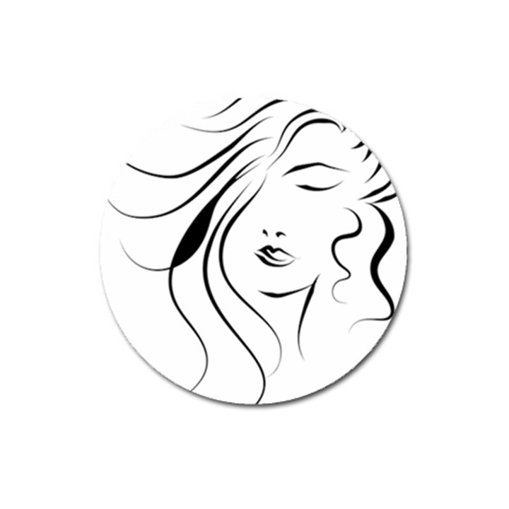 Womans Face Line Magnet 3  (Round)