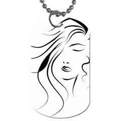 Womans Face Line Dog Tag (two Sides) by Jojostore