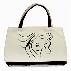 Womans Face Line Basic Tote Bag by Jojostore