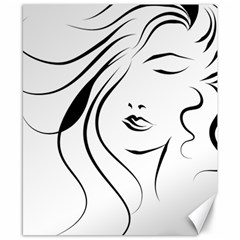 Womans Face Line Canvas 8  X 10  by Jojostore