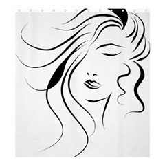 Womans Face Line Shower Curtain 66  X 72  (large)  by Jojostore