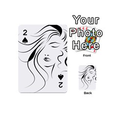 Womans Face Line Playing Cards 54 (mini)  by Jojostore