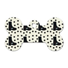 Deer Boots White Black Dog Tag Bone (one Side) by snowwhitegirl