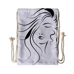 Womans Face Line Drawstring Bag (small) by Jojostore