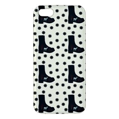 Deer Boots White Black Apple Iphone 5 Premium Hardshell Case by snowwhitegirl