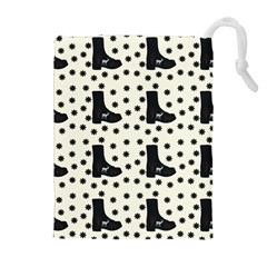Deer Boots White Black Drawstring Pouches (extra Large) by snowwhitegirl