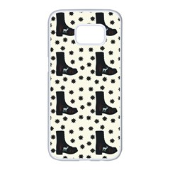 Deer Boots White Black Samsung Galaxy S7 Edge White Seamless Case by snowwhitegirl