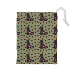 Deer Boots Green Drawstring Pouches (large)  by snowwhitegirl