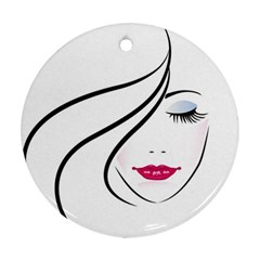 Makeup Face Girl Sweet Ornament (round) by Mariart