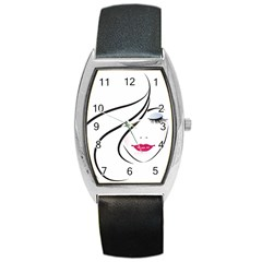 Makeup Face Girl Sweet Barrel Style Metal Watch by Mariart