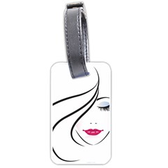Makeup Face Girl Sweet Luggage Tags (two Sides) by Mariart