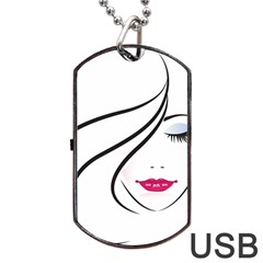 Makeup Face Girl Sweet Dog Tag Usb Flash (two Sides) by Mariart