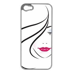 Makeup Face Girl Sweet Apple Iphone 5 Case (silver) by Mariart