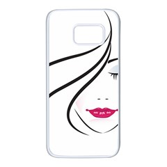 Makeup Face Girl Sweet Samsung Galaxy S7 White Seamless Case