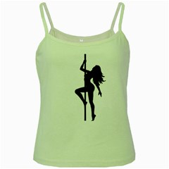 Dance Silhouette Pole Dancing Girl Green Spaghetti Tank