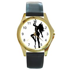 Dance Silhouette Pole Dancing Girl Round Gold Metal Watch