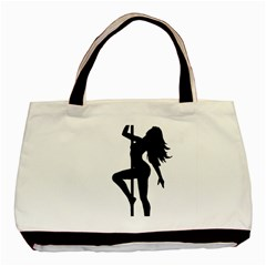 Dance Silhouette Pole Dancing Girl Basic Tote Bag by Alisyart