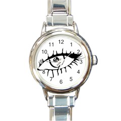 Drawn Eye Transparent Monster Big Round Italian Charm Watch