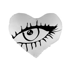 Drawn Eye Transparent Monster Big Standard 16  Premium Flano Heart Shape Cushions