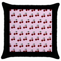 Pink Cherries Throw Pillow Case (black) by snowwhitegirl
