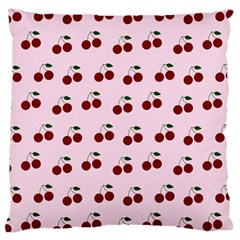 Pink Cherries Large Cushion Case (one Side) by snowwhitegirl