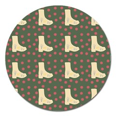 Green Boot Magnet 5  (round) by snowwhitegirl