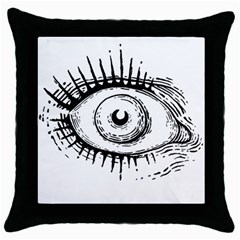 Big Eye Monster Throw Pillow Case (black)