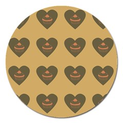 Cupcake Pumpkin Orange Grey Magnet 5  (round) by snowwhitegirl