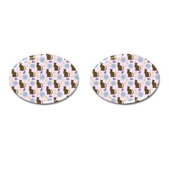 Outside Brown Cats Cufflinks (oval) by snowwhitegirl