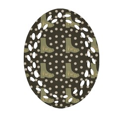 Charcoal Boots Ornament (oval Filigree) by snowwhitegirl