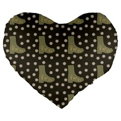 Charcoal Boots Large 19  Premium Flano Heart Shape Cushions by snowwhitegirl