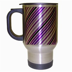 Purple Diagonal Lines Travel Mug (silver Gray) by snowwhitegirl