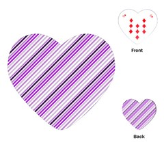 Purple Diagonal Lines Playing Cards (heart)  by snowwhitegirl