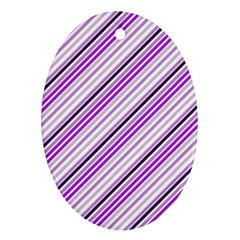 Purple Diagonal Lines Oval Ornament (two Sides)