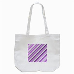 Purple Diagonal Lines Tote Bag (white) by snowwhitegirl