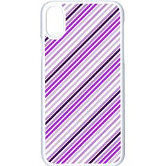 Purple Diagonal Lines Apple Iphone X Seamless Case (white)