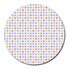 Blue Pink Yellow Eggs On White Round Mousepads by snowwhitegirl