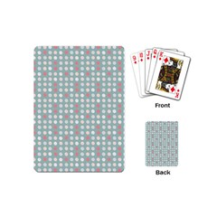 Pink Peach Grey Eggs On Teal Playing Cards (mini)  by snowwhitegirl