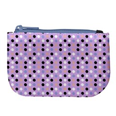 Black White Pink Blue Eggs On Violet Large Coin Purse