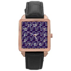 Peach Purple Eggs On Navy Blue Rose Gold Leather Watch  by snowwhitegirl
