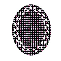 Pink Green Eggs On Black Ornament (oval Filigree)